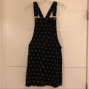 Overall mini black Dress with white polka dots